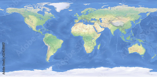 Fotografie, Tablou  Physical map of the World with outlines - detailed topography in geographic coor