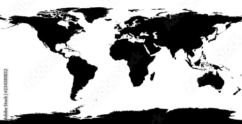 Map of the world colored in black and white - projection in ...
