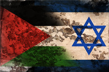 Flag Of Israel And Palestine In Grunge Style.