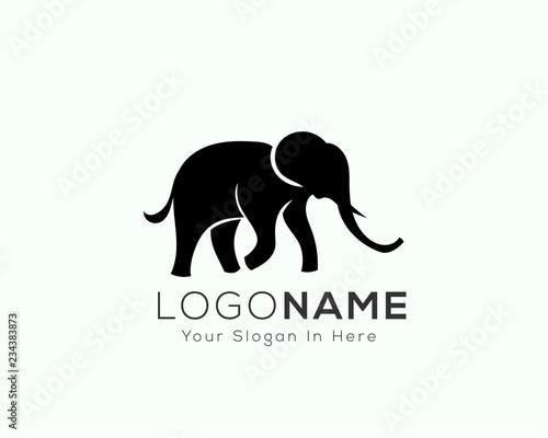 Elegant black walking elephant logo design inspiration Wallpaper Mural
