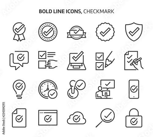 Fotografie, Obraz  Check mark, bold line icons