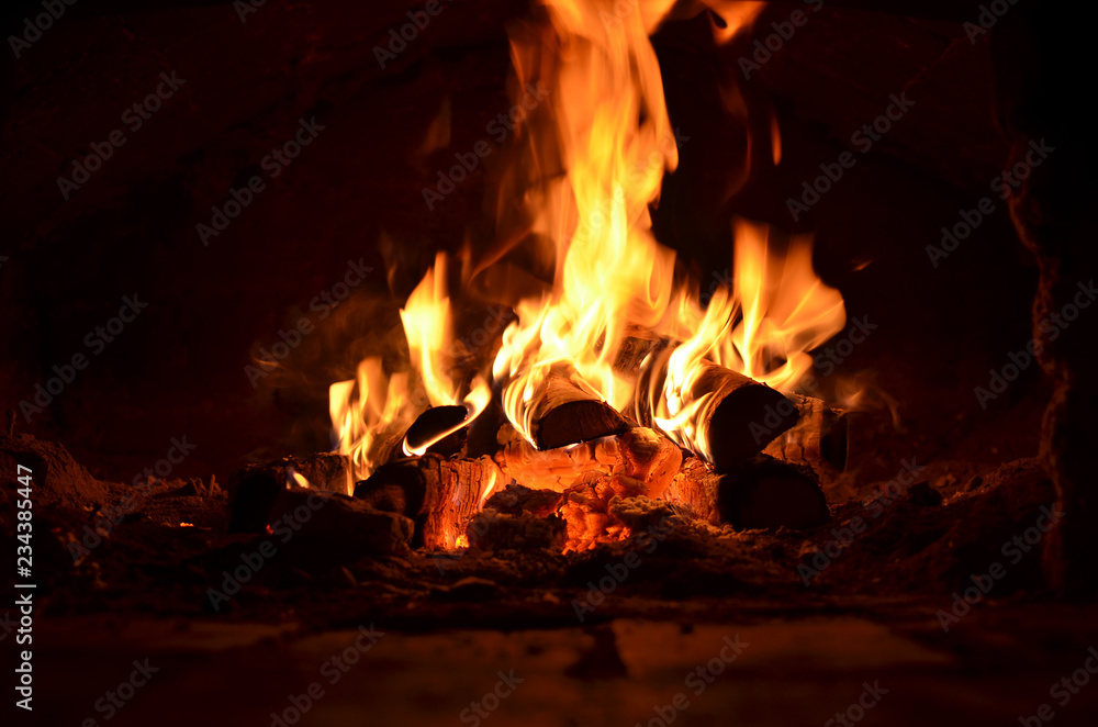 Fototapety, obrazy: hot flaming wood in the hearth close-up-background image