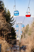 Ski Gondola Cable Car In The Mountains Forest