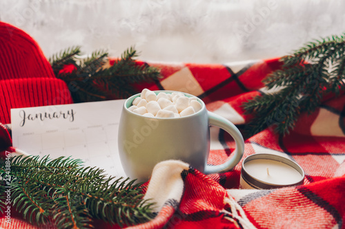 Obraz Calendar January month. Christmas concept. Coffee cup with marshmellow and holiday decoration. - fototapety do salonu