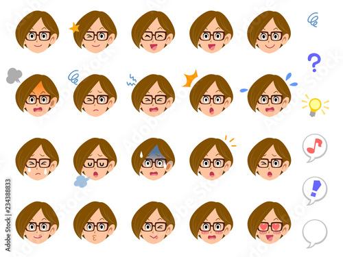 眼鏡をかけた女性の20種類の表情 会社員 キャリアウーマン 秘書 Fototapet
