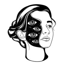 Vector Hand Drawn Surrealistic  Illustration Of Pretty Girl . Tattoo Artwork.  Template For Card, Poster, Banner, Print For T-shirt, Badge And Pin.