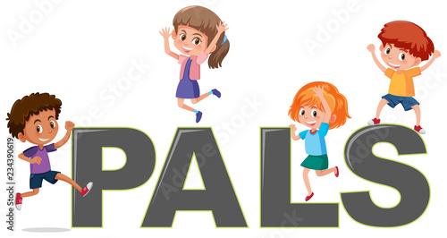 Obraz na plátně Kids on the word pals