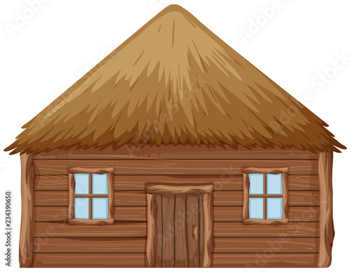 A wooden hut on white background Wallpaper Mural