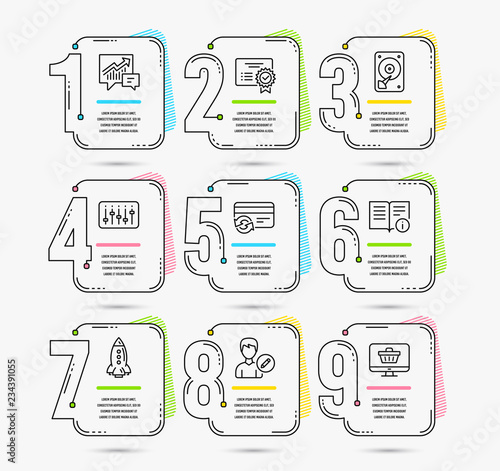 Infographic Template With Numbers 9 Options Set Of Hdd