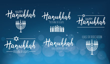 Vector Illustration Set Of Happy Hanukkah.