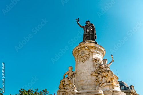 Poster Historisch mon. Republic statue at Place de Republique in Paris, France in sunny day