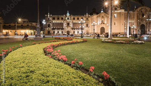 Lima, Peru: .Archbishopric palace from main square of the city. Canvas Print