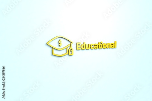 Fotografía  3D illustration of Educational, yellow color and yellow text with light blue background