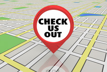 Check Us Out See New Location Spot Map Pin 3d Illustration