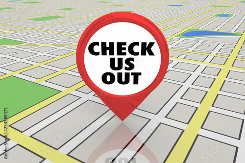 Photo Check Us Out See New Location Spot Map Pin 3d Illustration