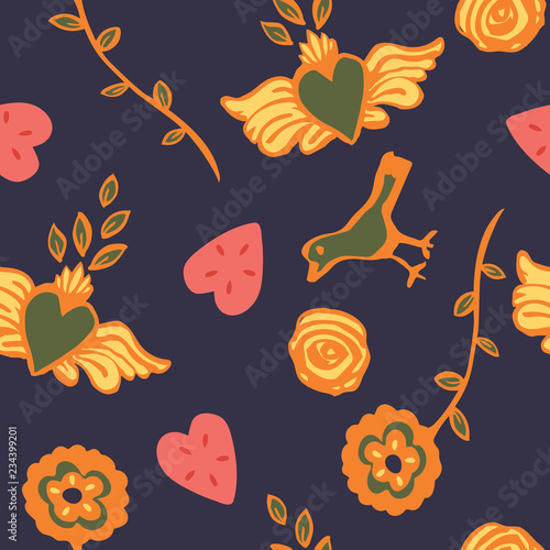 Fotografija  Colorful folk art seamless pattern with flowers, roses, heart with wings and bird