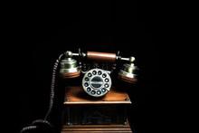 Vintage Background. Old Telephone - Closeup.