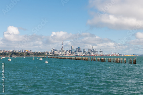 Poster Oceanië panoramic view of Auckland CBD from Judges Bay, New Zealand