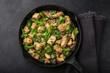 teriyaki chicken and broccoli in cast iron pan