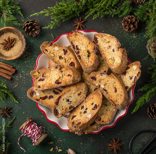 Slika na platnu Traditional italian cookies biscotti with dried cranberry and nut