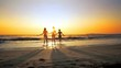 Happy family mother with two daughter running on vacation at the beach. Smiling friends Have a Fun running in the Sea Splashing and Holds By Arms Over sunset. CINEMATIC SLOW MOTION