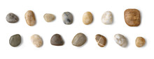Up View Of Different River Stones Collection Against White Background