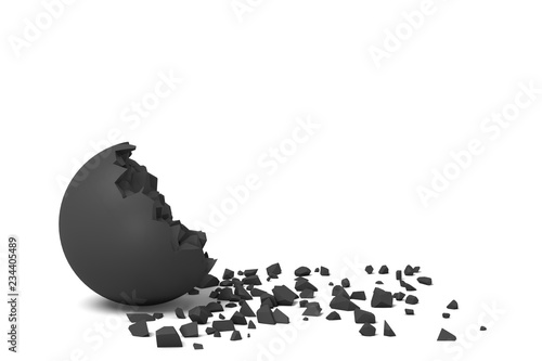 Fotografering  3d rendering of an isolated black round ball getting deteriorated with small pieces