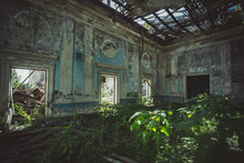 Ruined Mansion Hall Interior Overgrown By Plants. Nature And Abandoned Architecture, Green Post-apocalyptic Concept