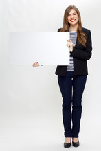 Businesswoman Full Body Portrait With White Board.