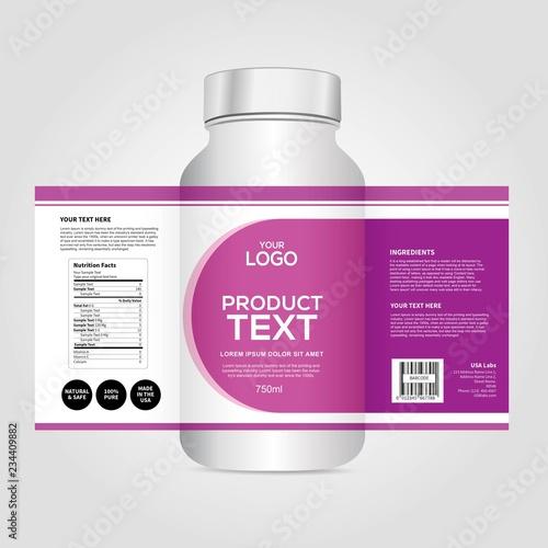 Fotografia Bottle label, Package template design, Label design, mock up design label templa