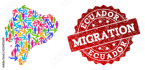 People migration traffic combination of mosaic map of Ecuador and corroded seal stamp Canvas-taulu