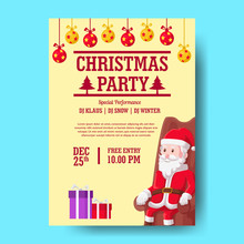 Christmas Party Poster Template With Santa Claus Sitting On The Sofa . Vector Illustration