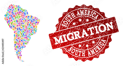 Fényképezés  People migration traffic composition of mosaic map of South America and corroded seal stamp