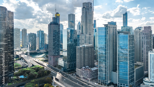 Canvas Prints American Famous Place Chicago skyline aerial drone view from above, lake Michigan and city of Chicago downtown skyscrapers cityscape, Illinois, USA