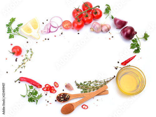 Olive oil with spices and vegetables