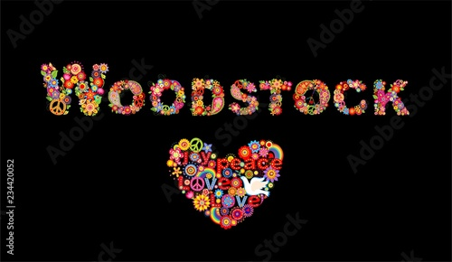 Fotografie, Obraz Colorful Woodstock flowers lettering and hippie heart shape with flower power, r