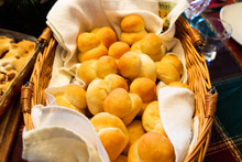 Traditional Mennonite Zwieback Bread Rolls In Basket For Holiday Meal