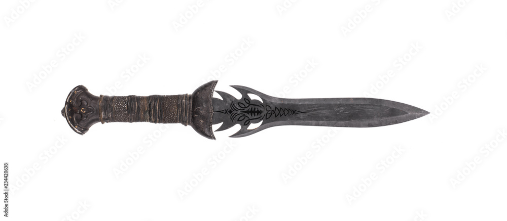 Fototapeta ancient weapon, hunting knife on a white background