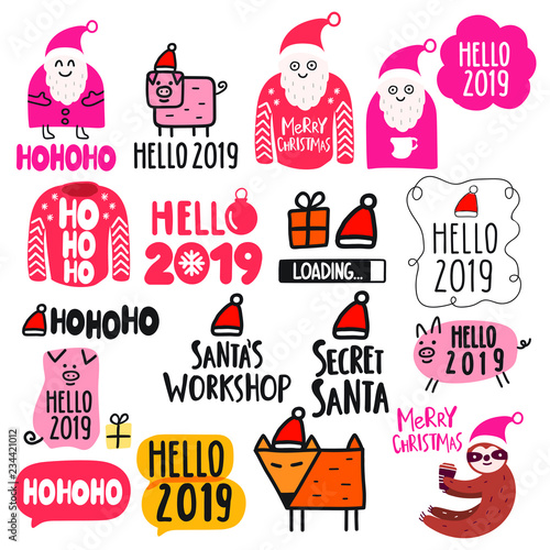 set of concept icons for happy new year 2019 and christmas themes vector lettering hand