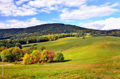 Autumn landscape in Low Beskids (Beskid Niski), Slovakia