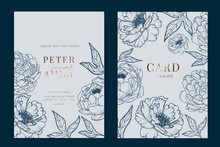 Metallic Copper And Navy Wedding Invitation, Floral Invite Thank You, Rsvp Modern Card Design In White And Blue Peony With Leaf Branches Decorative Vector Elegant Rustic Template