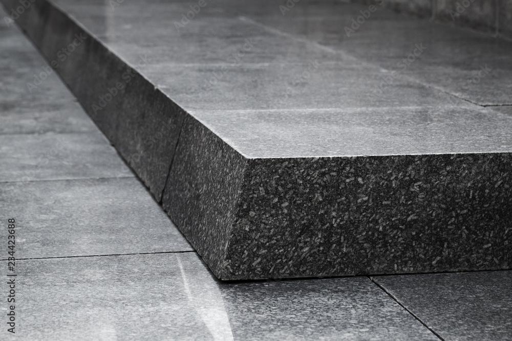 Fototapeta Black granite stairs, abstract architecture