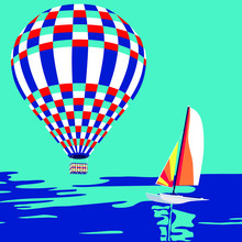 Hot Air Balloon Flying Over The Sea And Catamaran. Seascape Background, Marine Style. Summer Poster. Contemporary Art For Magazine, Book Cover, Background, Graphic Elements, Advertisement, Etc. Vector