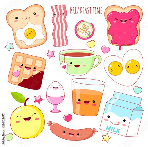 Set of cute breakfast food  icons in kawaii style Wallpaper Mural