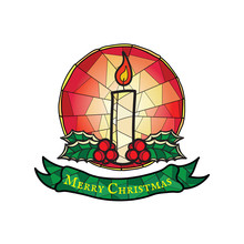 Christmas Candle With Holly - Stained Glass Style Symbol