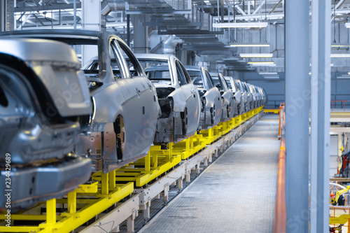 Fototapeta  Movement of vehicles along the production line at the plant