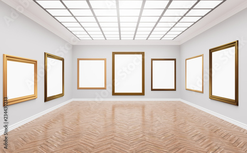 Rendering Ilration Of Clical Gallery Fine Art Museum White Blank Canvases In Gorgeus