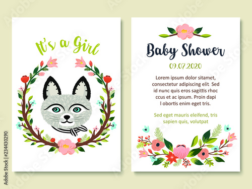 613a190111f4 Baby Shower invitation card design with cute cat and floral elements. It s  a girl theme