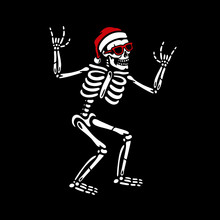 SKELETON IN SANTA HAT AND SUNG...