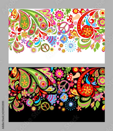 Fotografía Seamless flowers colorful border with hippie peace symbol, fly agaric and paisle
